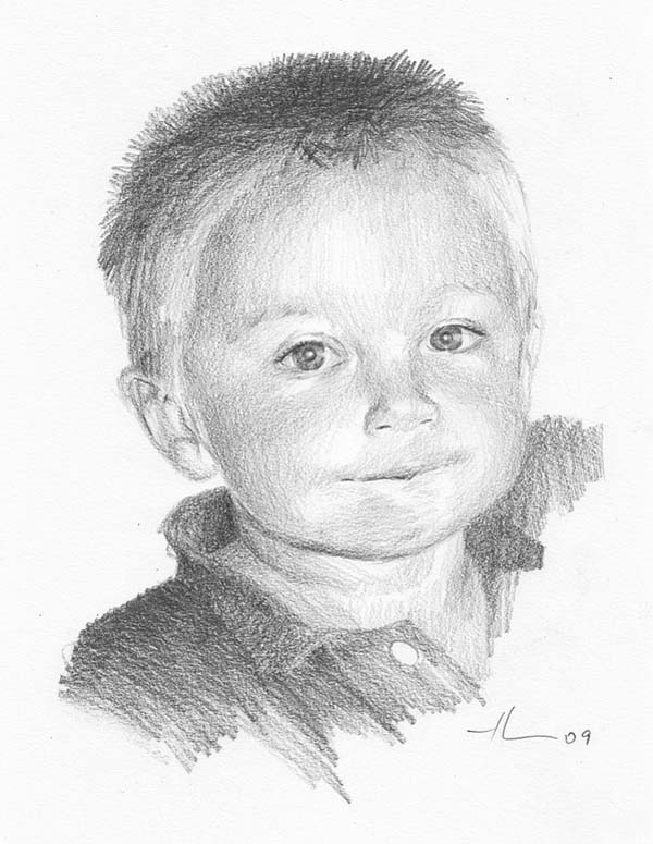Little boy, pencil drawing